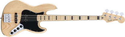 Fender Deluxe Active Jazz Bass Guitar - Maple Neck - Natural Ash Body
