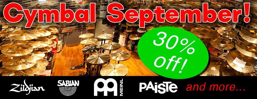 Cymbal September! 30% Off Cymbals In-store