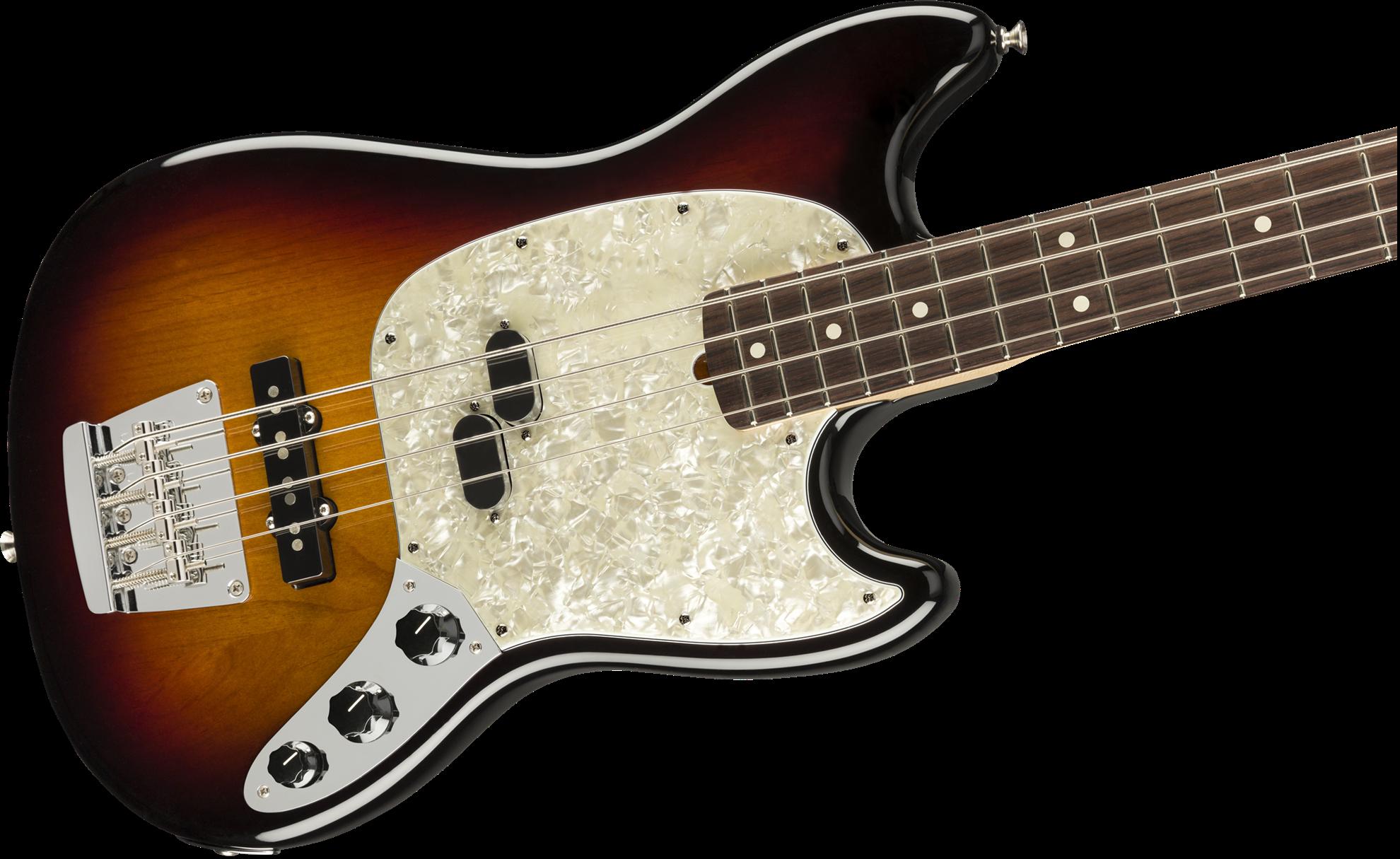 Fender American Performer Mustang Bass Electric Guitar - Rosewood Neck - 3-Color Sunburst