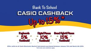 Back to School Cashback on Casio Digital Pianos and Keyboards