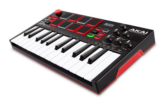 Akai MPK Mini Play Standalone Keyboard and MIDI Controller with Sounds and Speaker Angle