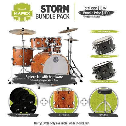 Mapex Storm Drum Kit Bundle Ebony Blue Grain