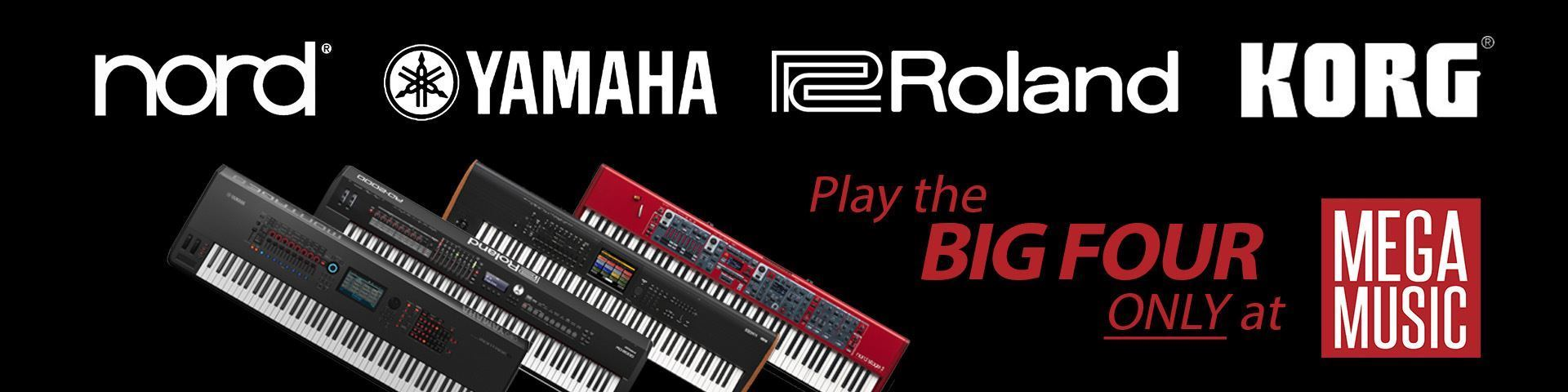 Nord, Yamaha, Roland and Korg - only available at Mega Music