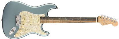 Fender American Elite Stratocaster Electric Guitar - Ebony - Satin Ice Blue Metallic Front