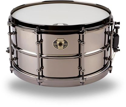 Ludwig 7x13 Black Magic Snare with Black Nickel Die-Cast Hoops & Tube - Front Lug