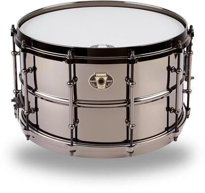 Ludwig 8x14 Black Magic Snare with Black Nickel Die-Cast Hoops & Tube Lug - Front
