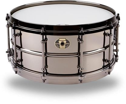 Ludwig 6.5x14 Black Magic Snare with Black Nickel Die-Cast Hoops & Tube Lugs - Front
