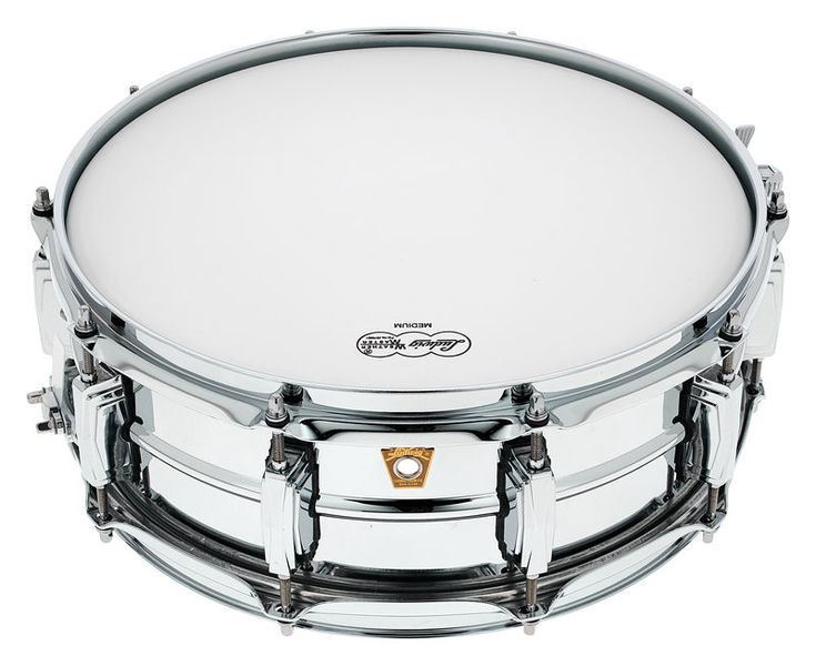 Ludwig Chrome Plated Brass Snare Drum 5x14 Smooth Shell with Imperial Lugs -Top
