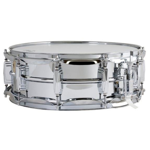 Ludwig Chrome Plated Brass Snare Drum 5x14 Smooth Shell with Imperial Lugs -Strainer