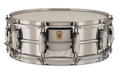 Ludwig Chrome Plated Brass Snare Drum 5x14 Smooth Shell with Imperial Lugs -Front