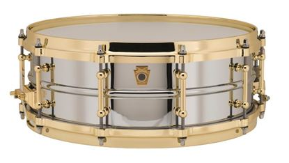 Ludwig Chrome Plated Brass Snare Drum 5x14 with Tube Lugs, P86 & Die Cast Hoops - Front