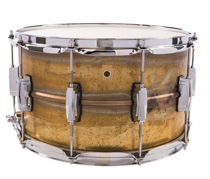 Ludwig Raw Brass Phonic Snare Drum 8x14 Raw Brass Shell Imperial Lugs - Front