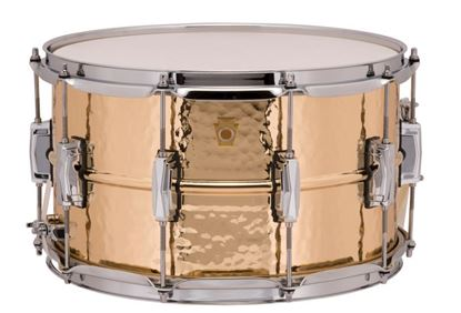 Ludwig Bronze Phonic Snare Drum 8x14 Hammered Shell with Imperial Lugs - Front