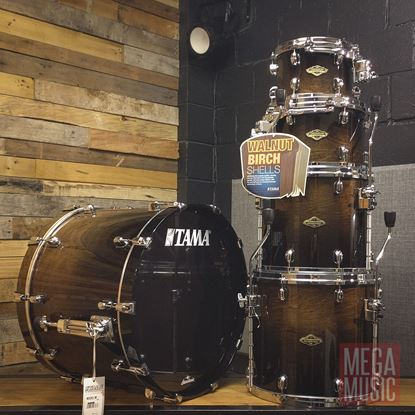 Tama Starclassic WBS52RZS Walnut Birch 5-Piece Shell Pack (2 Up, 2 Down Config) in Transparent Mocha Fade - Body