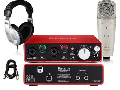 Focusrite Scarlett 2i2 Essentials Recording Bundle (with C1 Condensor Mic & HPM1000 Headphones)