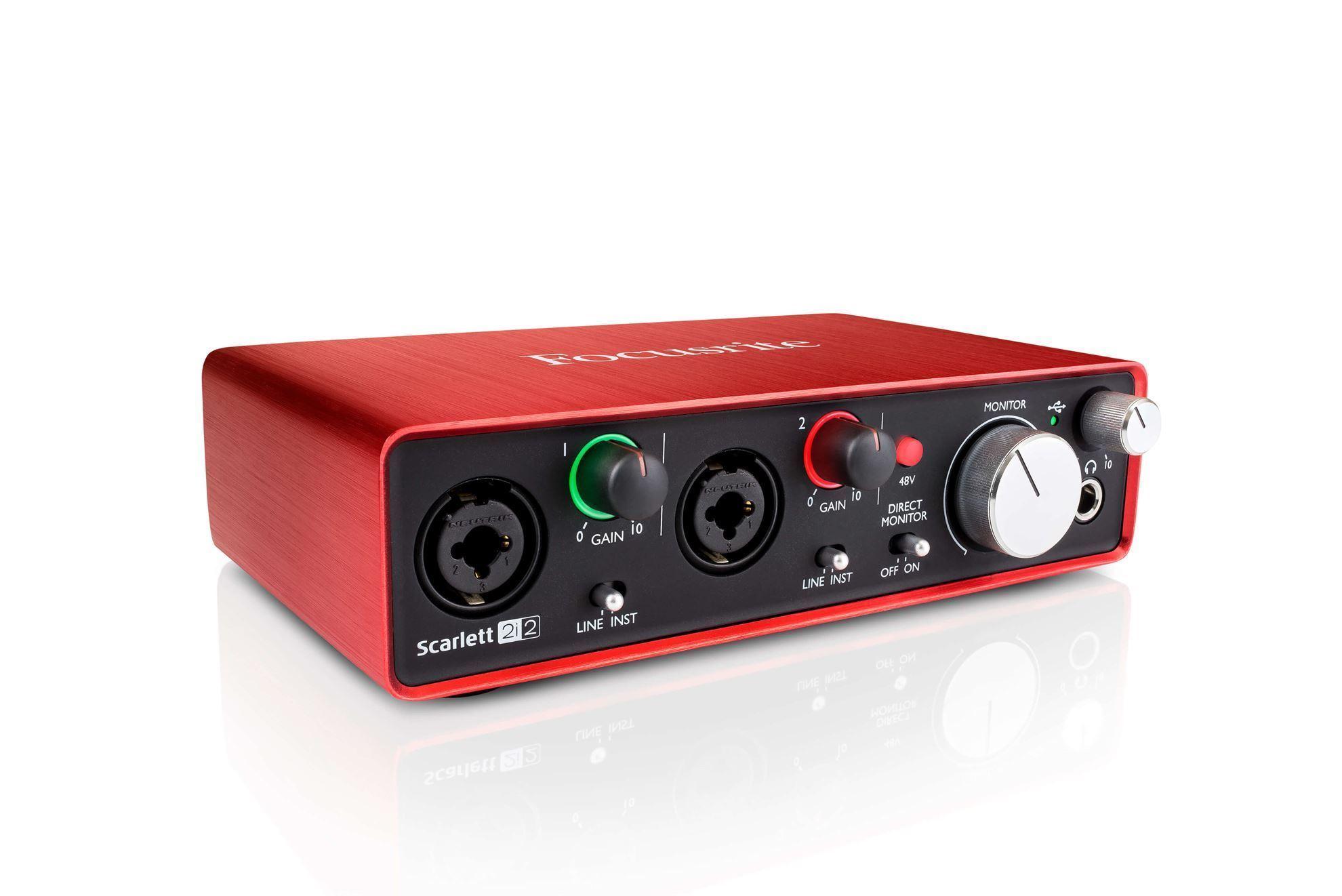Focusrite Scarlett 2i2 Complete Recording Bundle (with Audio Technica AT2020 Condenser Mic & M20X Headphones)