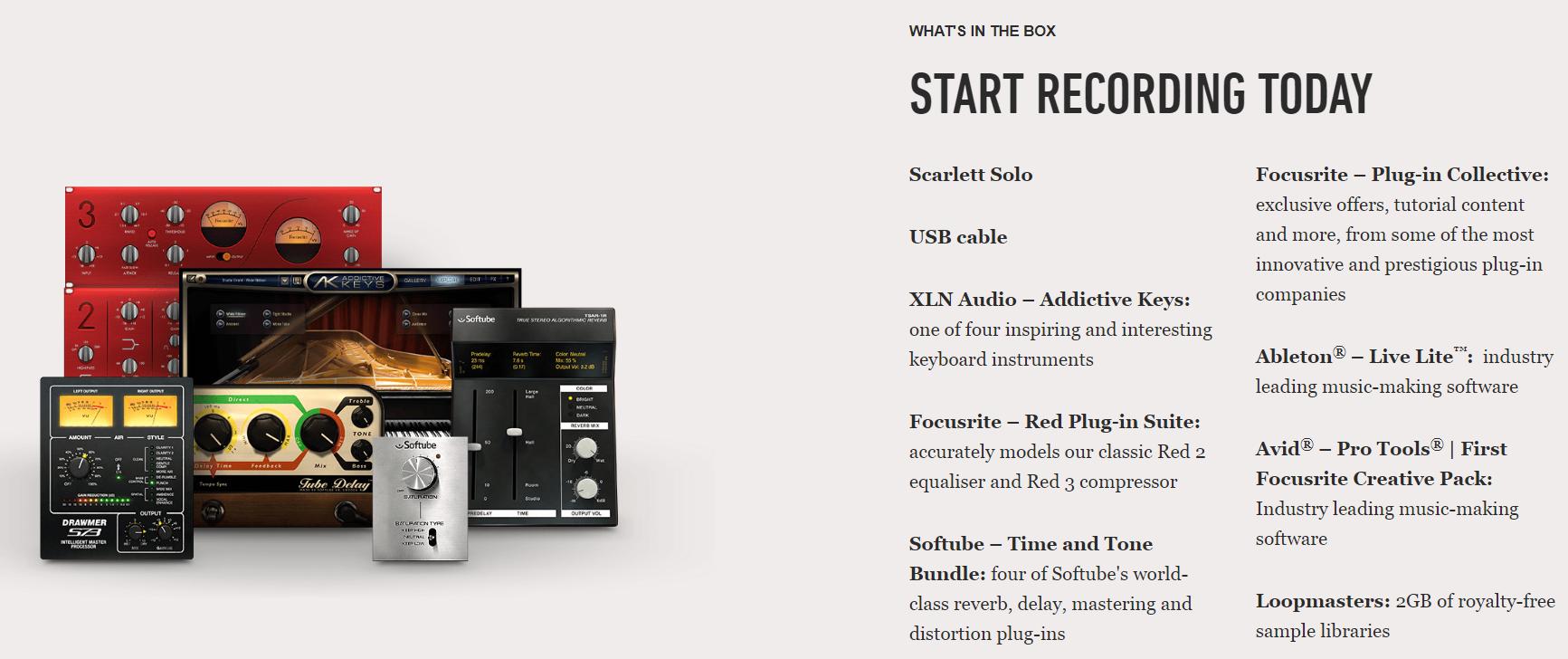 Focusrite Scarlett 2i2 Complete Recording Bundle (with Audio Technica AT2020WH Condenser Mic & M20X Headphones)