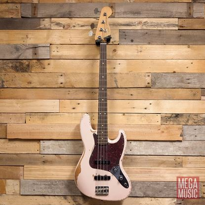 Fender Flea Roadworn Jazz Bass Guitar - Rosewood Neck - Faded Shell Pink Front