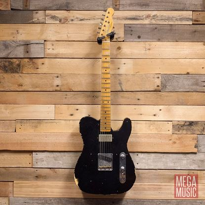 Fender Custom Shop 1952 Telecaster HS Electric Guitar - Aged Black Over Nocaster Blonde
