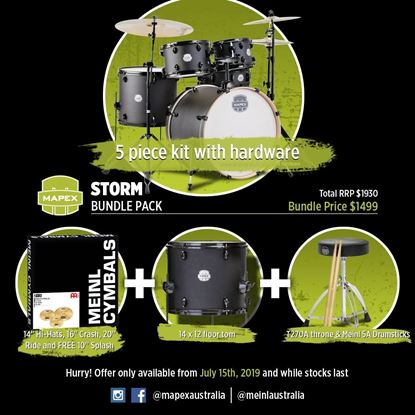 Mapex Storm Drum Kit Bundle (with Meinl HCS Cymbals, extra Floor Tom, Black Hardware & Drum Throne) - Black