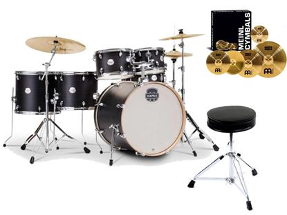 Mapex Storm Drum Kit Bundle (with Meinl HCS Cymbals, extra Floor Tom & Drum Throne) - Ebony Blue Grain