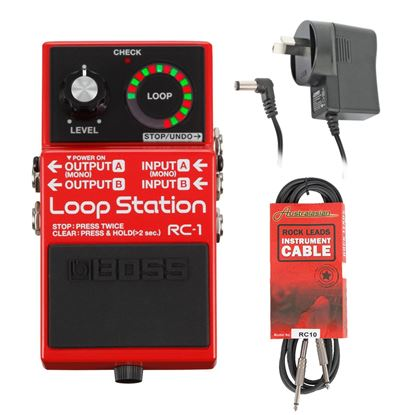 Boss RC-1 Loop Station Guitar Effects Pedal w/Power Adaptor & FREE 10ft Cable (RC1BUNDLE)