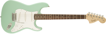 Squier Affinity Stratocaster Electric Guitar LRL Surf Green - Front