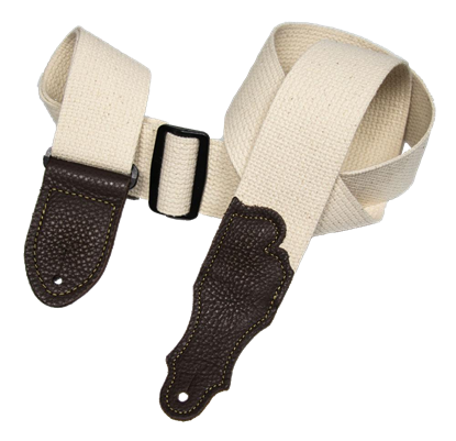 Franklin 2 Inch Natural Cotton with Chocolate End Tab Guitar Strap