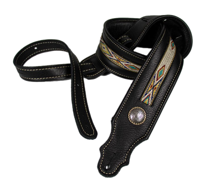 Franklin 2 Inch Padded Black Leather with Natural Hitch Weave Concho Guitar Strap