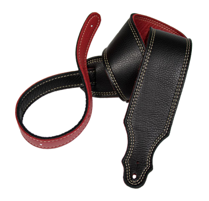 Franklin 2.5 Inch Black and Red Reversible Leather with Natural Stitching Guitar Strap