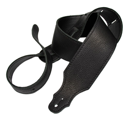 Franklin 2.5 Inch Black Glove Leather with Black Stitching Guitar Strap