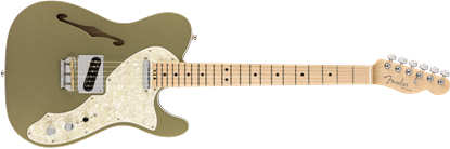 Fender American Elite Telecaster Thinline Electric Guitar MN Champagne - Front