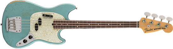 Fender JMJ Justin Meldal-Johnsen Signature Road Worn Mustang Bass Guitar RW Faded Daphne Blue - Front