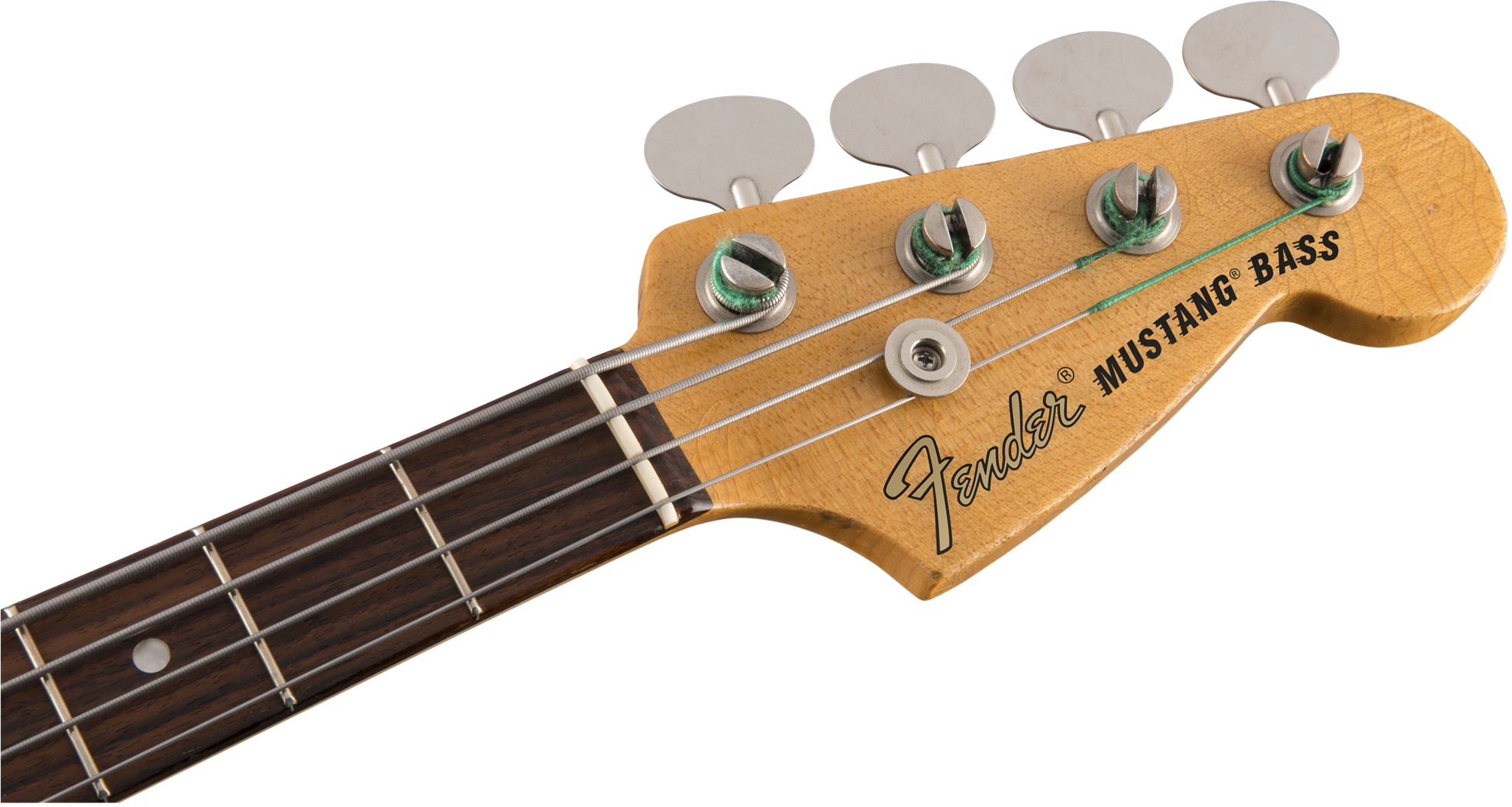 Fender JMJ Justin Meldal-Johnsen Signature Road Worn Mustang Bass Guitar RW Faded Daphne Blue - Head