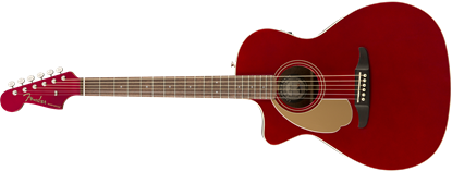 Fender Newporter Player Left Handed Acoustic Guitar Candy Apple Red - Front