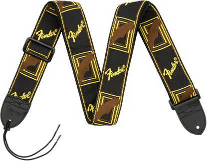 Fender 2 inch Monogrammed Guitar Strap Black/Yellow/Brown