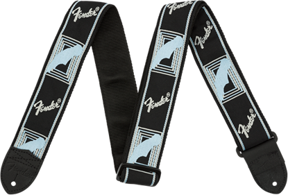 Fender 2 inch Monogrammed Guitar Strap Black/Light Grey/Blue