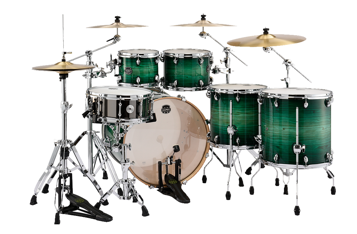 MAPEX Armory 6-Piece Shell Pack Drum Kit with 22 inch Kick - Emerald Green - Back