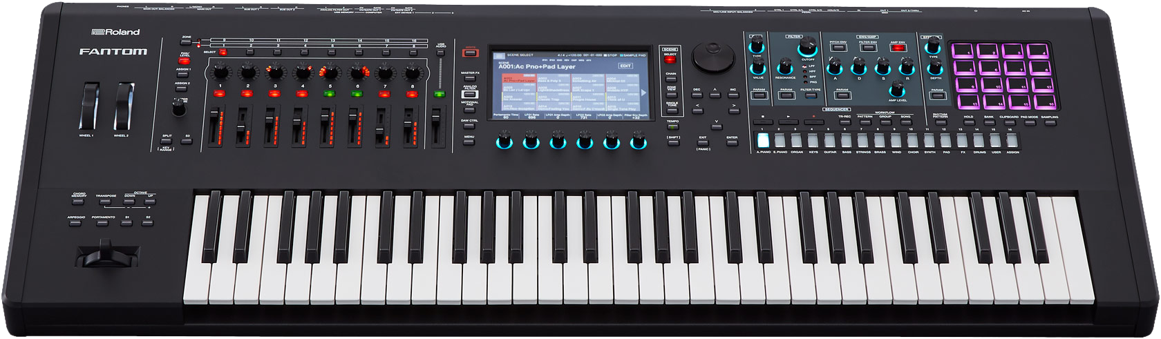 Roland FANTOM-6 Synth Workstation Keyboard - Front Angle