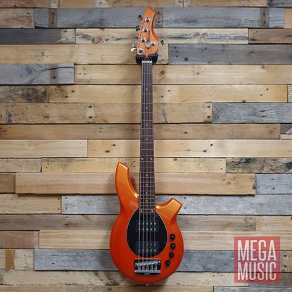 Ernie Ball Music Man Bongo HH 5 String Bass Guitar - Tangerine Pearl with Black Pickguard Front