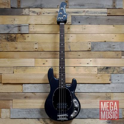 Ernie Ball Music Man StingRay Neck Thru Bass Guitar - Sapphire Black with Black Pickguard Front
