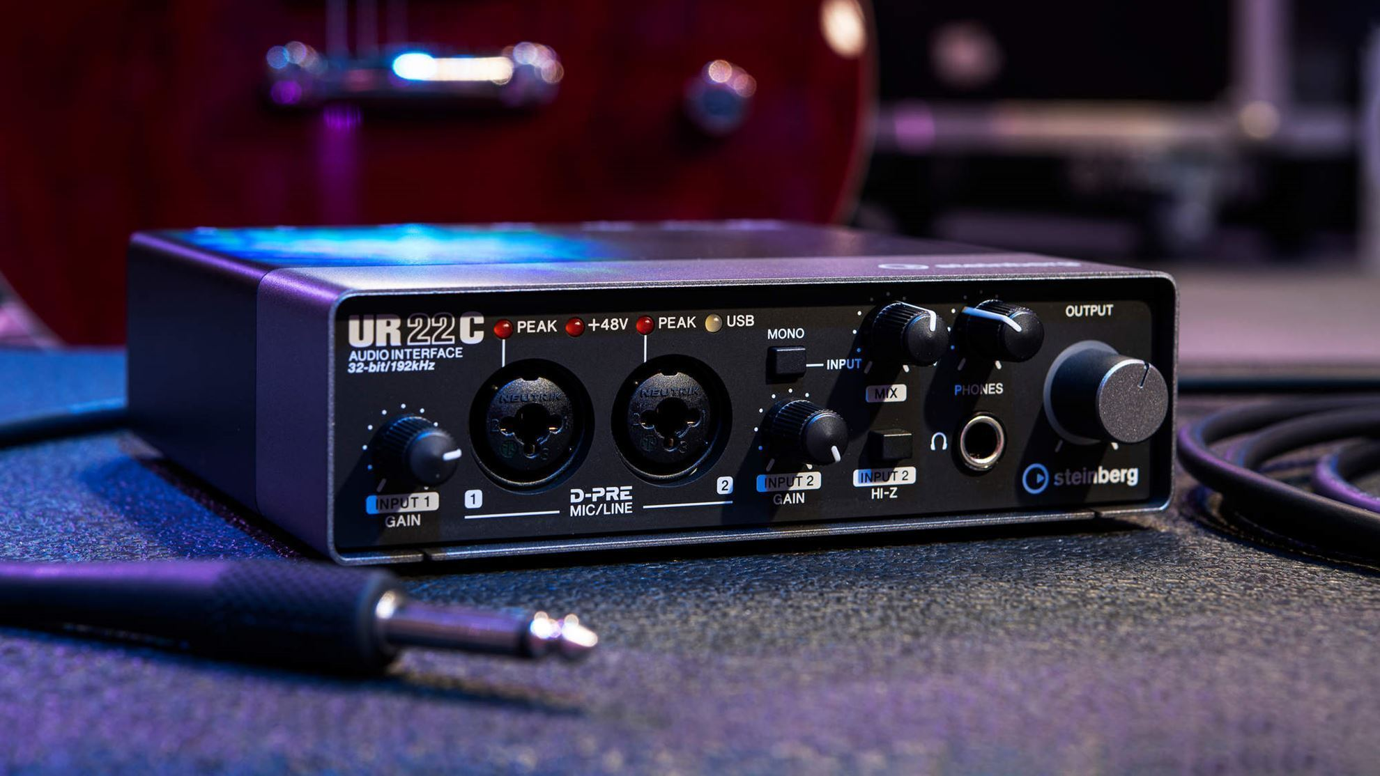 Steinberg UR22C USB 3 Audio Interface with Cubase DAW - Angle Front