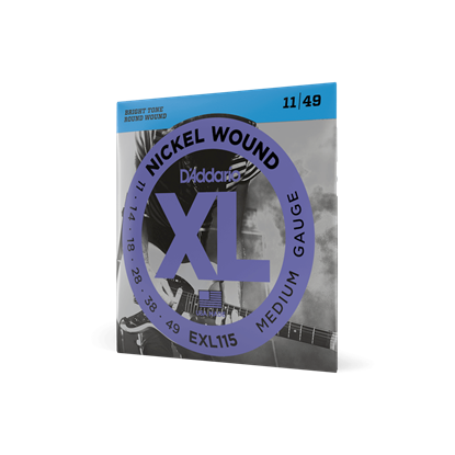 D'addario EXL115 11-49 Electric Guitar Strings 3-Pack - Angle