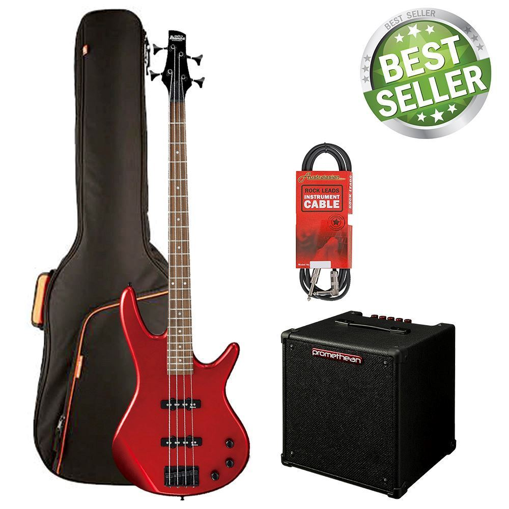 Ibanez SR320 Bass Guitar Starter Pack - Candy Apple Red (with Padded bag, Ibanez amplifier & 10 ft Cable)