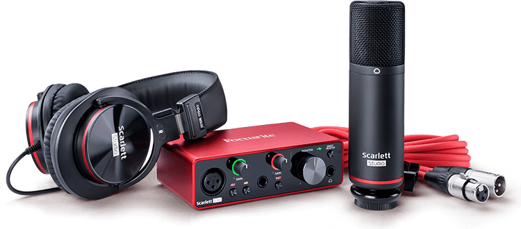 Focusrite Scarlett Solo Studio Gen 3 Audio Interface with Studio Mic and Headphones  - Right View