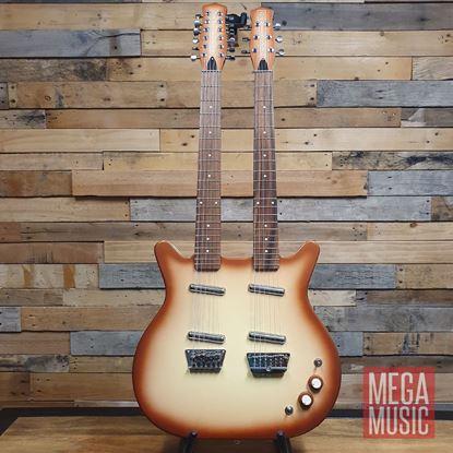 Danelectro Double Neck 6-String/12-String Electric Guitar Copper Burst - Front