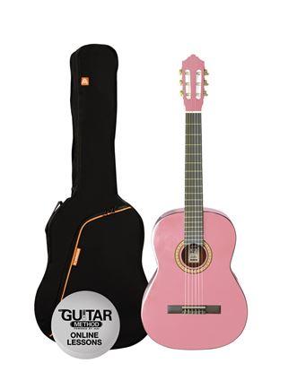 Ashton SPCG12PK - 1/2 Size Classical Guitar Starter Pack - Pink