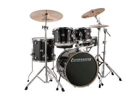 "Ludwig 22"" Inch Evolution 5 Piece Drum Kit With Hardware - Black Sparkle - Angle Left"
