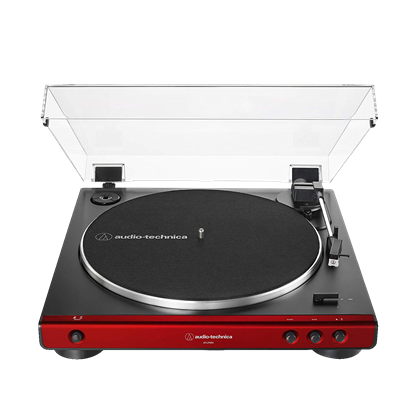 Audio Technica LP60X Fully Automatic Belt-Drive Turntable - Red - Top Front