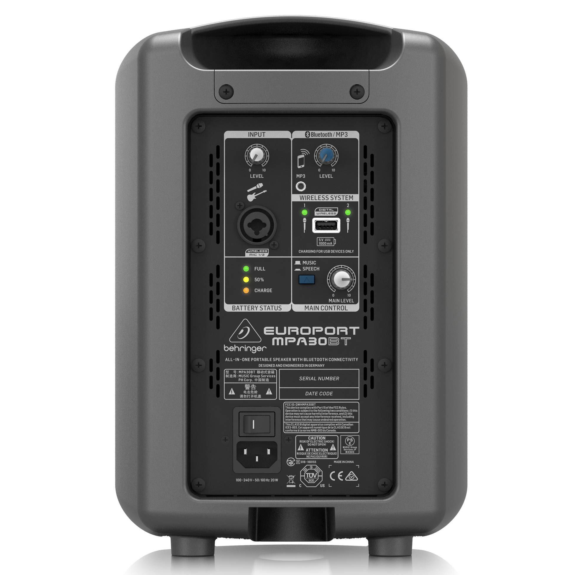 Behringer Europort MPA30BT 100w Speaker - Rear